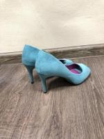 Голубые замшевые туфли лодочки с открытым мысом - Изображение 3