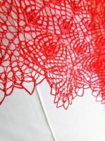 Вязанная спицами летняя хлопковая шаль парео - Изображение 2