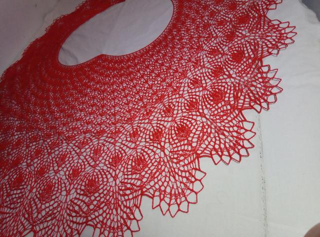 Вязанная спицами летняя хлопковая шаль парео - 3