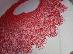 Вязанная спицами летняя хлопковая шаль парео - Изображение 3