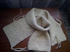 Продам вязанный шарф с шапкой ручной работы