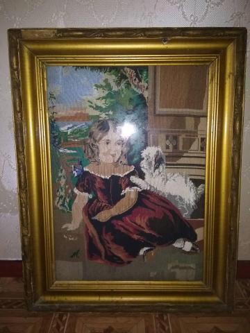 Старинная вышитая картина крестиком в 50-х годах - 1