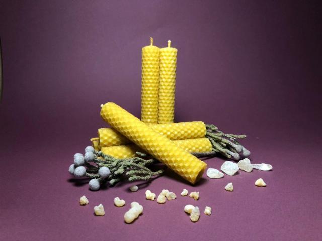 Свечи ручной работы из вощины (натуральный воск) с травами и эфирными маслами. - 1