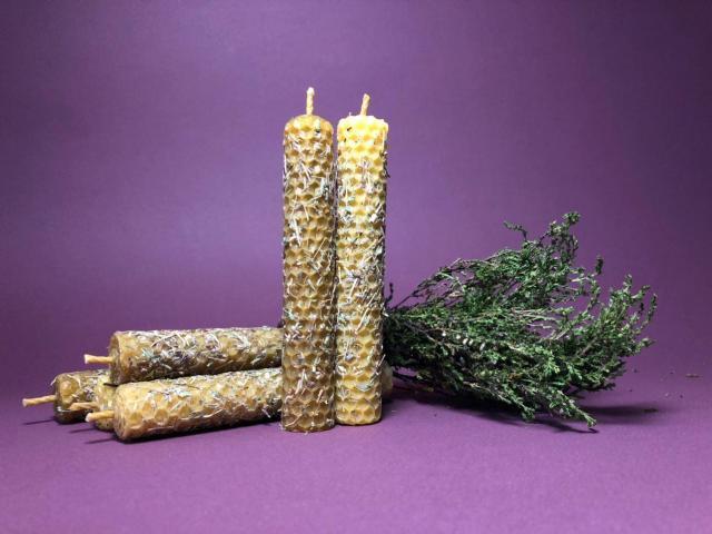 Свечи ручной работы из вощины (натуральный воск) с травами и эфирными маслами. - 2