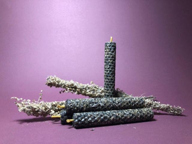 Свечи ручной работы из вощины (натуральный воск) с травами и эфирными маслами. - 3