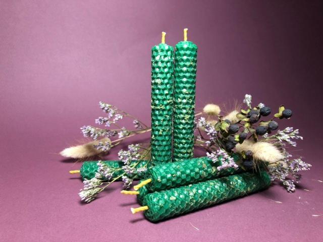 Свечи ручной работы из вощины (натуральный воск) с травами и эфирными маслами. - 4