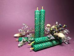 Свечи ручной работы из вощины (натуральный воск) с травами и эфирными маслами. - Изображение 4