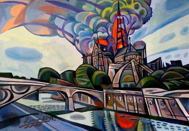 Картина Пожар. Нотер Дам де Париж. (графика ) - 1