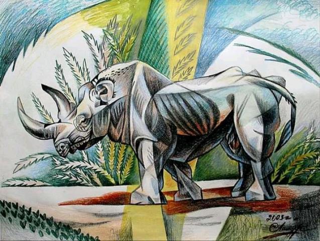 Картина Носорог. - 1