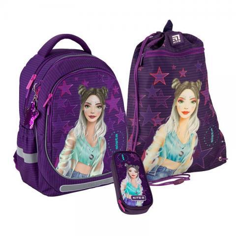 Рюкзак школьный в комплекте ортопедический Kite Fashion K20-700M-4 - 1